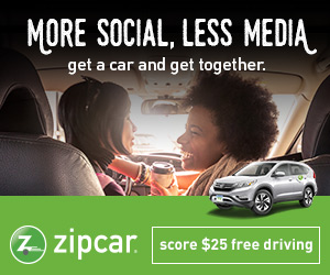 Zipcar: $25 free driving with zipcar