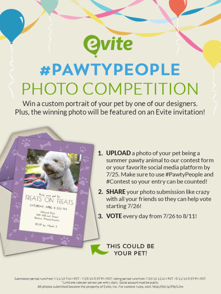 Evite Pawty People Contest