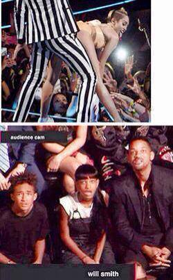 Wil smith looking at miley cyrus ass on mtv vmas