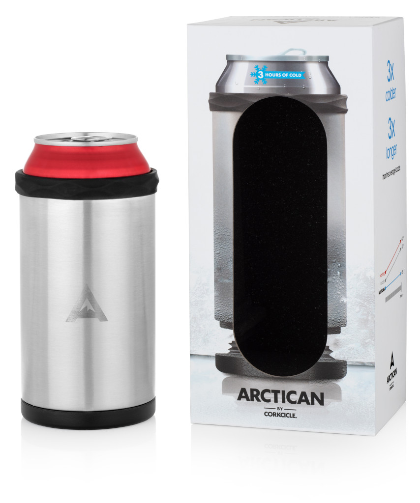 Corkcicle Arctican silver next to packaging with can