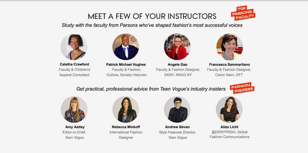 Instructors for Teen Vogue/Parsons Fashion course