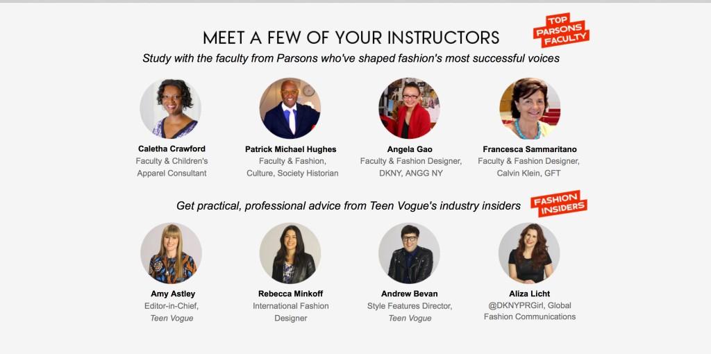 Instructors for Teen Vogue/Parsons Fashion course