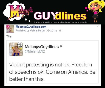 Violent protesting is not OK. Freedom of speech is OK. Come on America. Be better than th