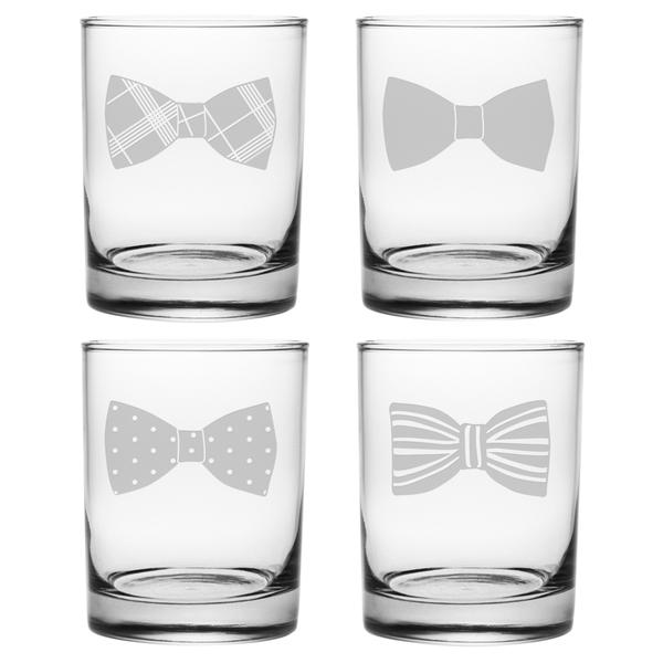 Bowties Rocks Glass, 14-ounce (Set of 4) from Overstock!