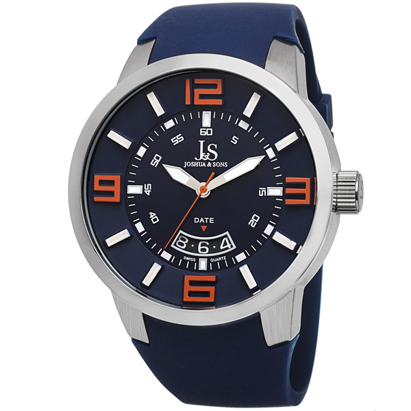 Joshua & Sons Men's Swiss Quartz Date Silicone Strap Watch