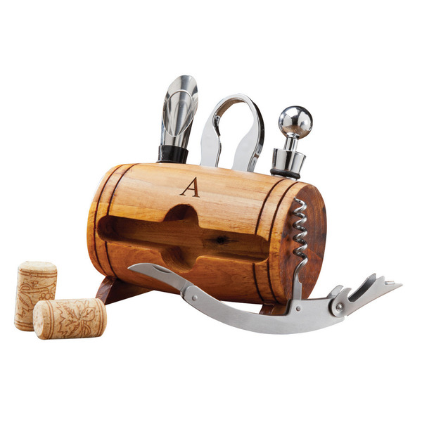 Monogrammed Wine Barrel Accessory Set