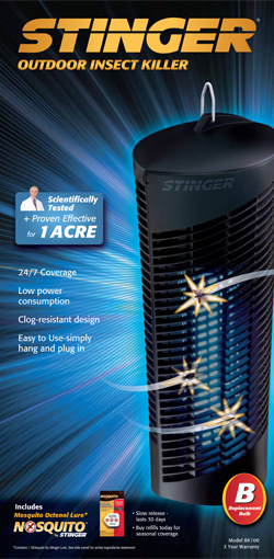 white UV light, the Stinger Insect Zapper 5-in-1 Mosquito Kill System uses black UV light technology to kill up to 40% more mosquitoes and flying insects.