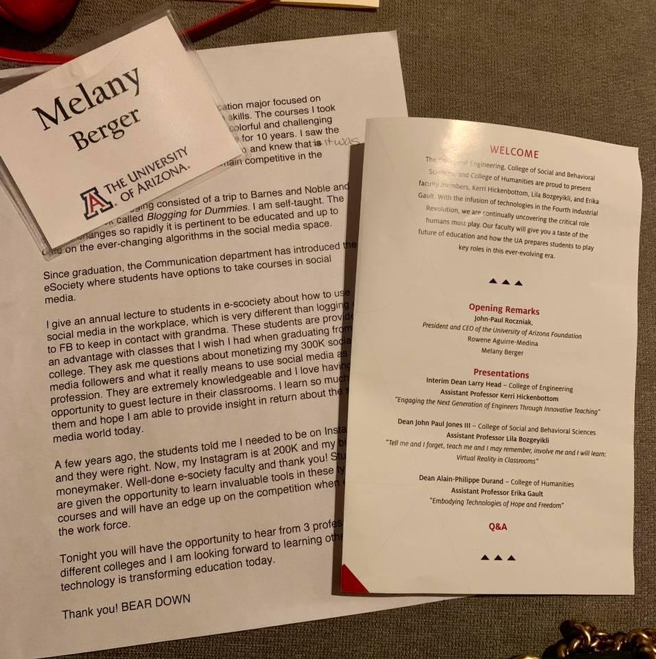 University of Arizona:  New Media In The Classroom, Melany Berger.
