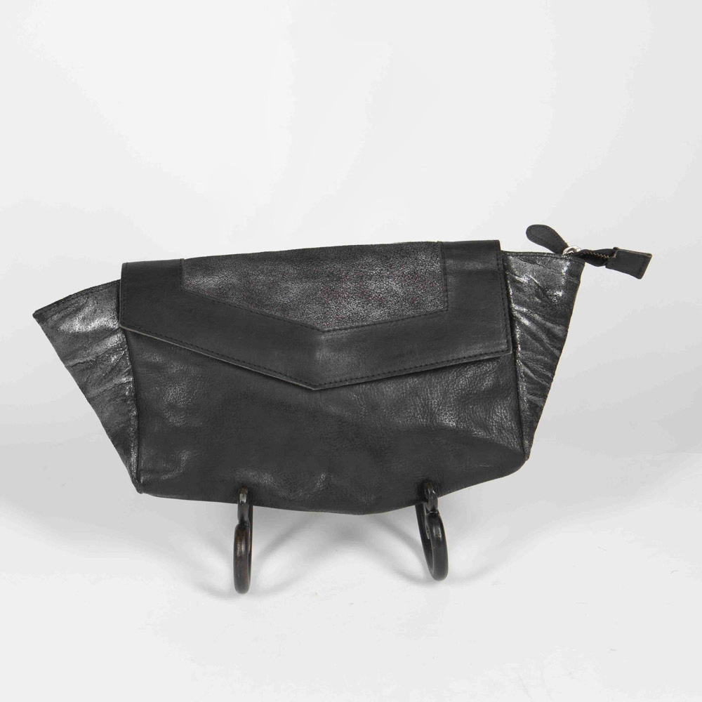 #1030 Black Leather Clutch
