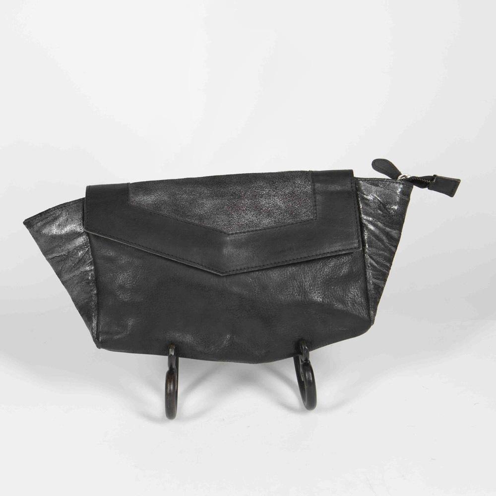 #1030 Black Leather Clutch